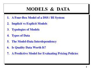 MODELS  &  DATA