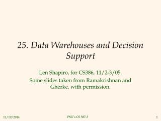 25. Data Warehouses and Decision Support