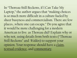 Thoreau Still Beckons journal