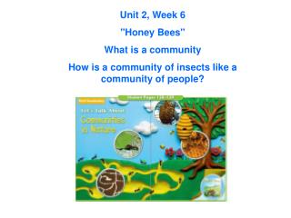 "Unit 2, Week 6 ""Honey Bees"" What is a community"