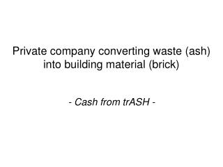 Private company converting waste (ash) into building material (brick)