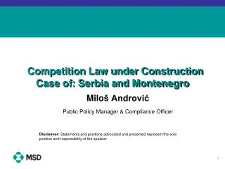 Competition Law under Construction Case of: Serbia and Montenegro