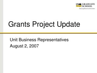 Grants Project Update