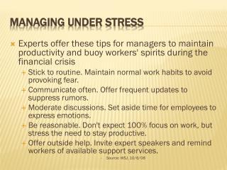 Managing Under Stress