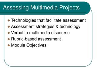 Assessing Multimedia Projects