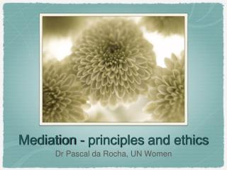 Mediation  -  principles  and  ethics