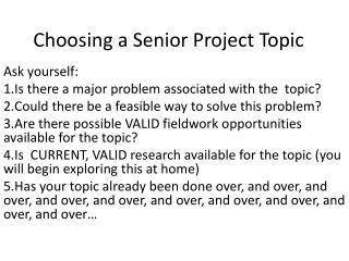 Choosing a Senior Project Topic