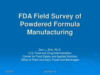 FDA Field Survey of Powdered Formula Manufacturing