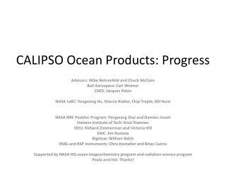CALIPSO Ocean Products: Progress