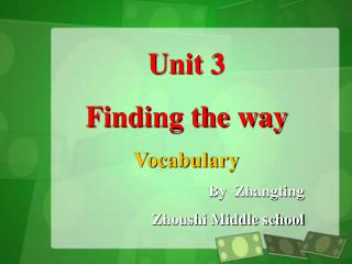 Unit 3  Finding the way Vocabulary By  Zhangting    Zhoushi Middle school