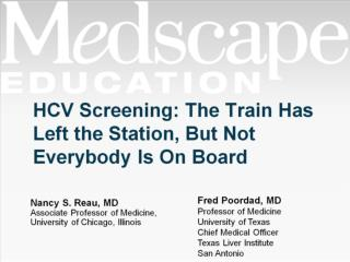 HCV Screening: The Train Has Left the Station, But Not Everybody Is On Board