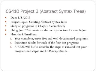 CS410 Project 3 (Abstract Syntax Trees)