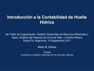 Introducci n a la Contabilidad de Huella H drica