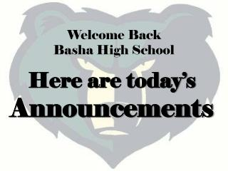 Here are today�s Announcements