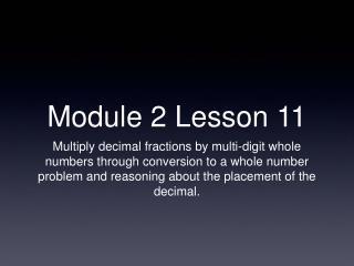 Module 2 Lesson 11