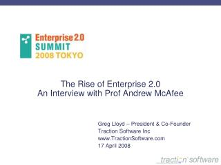 The Rise of Enterprise 2.0 An Interview with Prof Andrew McAfee