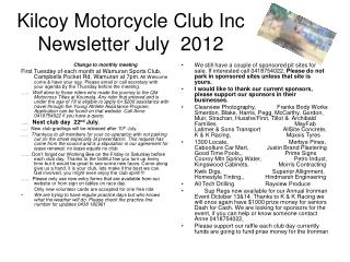 Kilcoy Motorcycle Club Inc Newsletter July  2012
