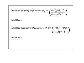Total Cost (Monthly Payments) = (P) (N)