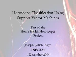 Joseph 'Jofish' Kaye INFO.634 1 December 2004