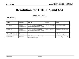 Resolution for CID 118 and 664