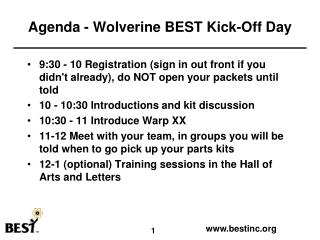 Agenda - Wolverine BEST Kick-Off Day