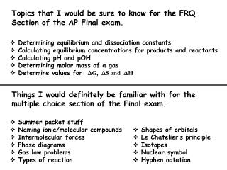 Topics that I would be sure to know for the FRQ  Section of the AP Final exam.