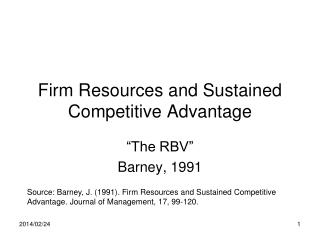 Firm Resources and Sustained Competitive Advantage