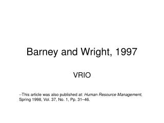 Barney and Wright, 1997