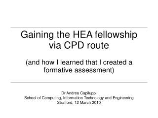 Gaining the HEA fellowship via CPD route