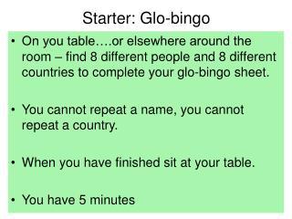Starter: Glo-bingo