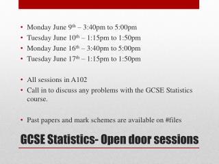 GCSE Statistics- Open door sessions
