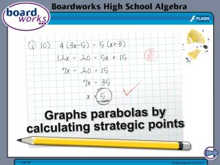 Graphs parabolas by calculating strategic points