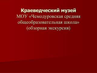 Краеведческий музей МОУ «Чемодуровская средняя общеобразовательная школа» (обзорная экскурсия)