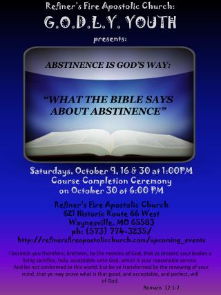 Refiner's Fire Apostolic Church: G.O.D.L.Y. YOUTH  presents: