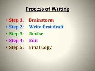 Process of Writing