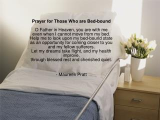 Prayer for those who are bedbound