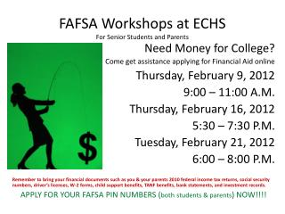 FAFSA Workshops at ECHS For Senior Students and Parents