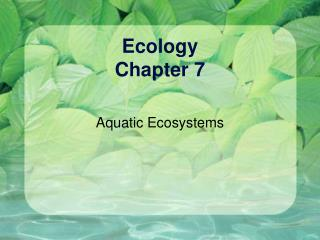 Ecology  Chapter 7