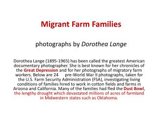 Migrant Farm Families photographs by  Dorothea Lange