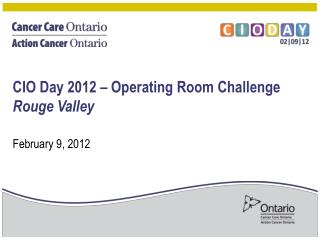 CIO  Day  2012 – Operating Room Challenge Rouge Valley