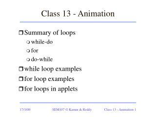 Class 13 - Animation