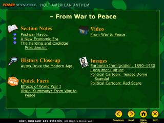 – From War to Peace