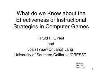 What do we Know about the Effectiveness of Instructional Strategies in Computer Games