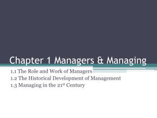 Chapter 1 Managers & Managing