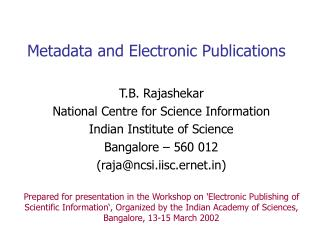 Metadata and Electronic Publications