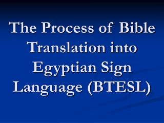 The Process of Bible Translation into Egyptian Sign Language (BTESL)