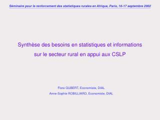 Synthèse des besoins en statistiques et informations sur le secteur rural en appui aux CSLP