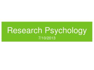 Research Psychology