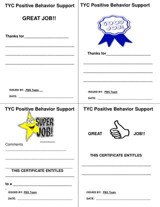 TYC Positive Behavior Support