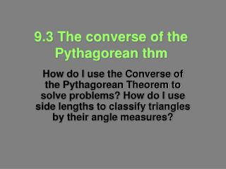 9.3 The converse of the Pythagorean thm